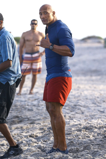 51984759 Stars are spotted on the set of 'Baywatch' in Boca Raton, Florida on March 1st, 2016 Stars are spotted on the set of 'Baywatch' in Boca Raton, Florida on March 1st, 2016 Pictured: Dwayne Johnson FameFlynet, Inc - Beverly Hills, CA, USA - +1 (310) 505-9876